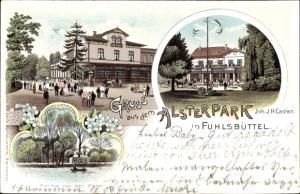Litho Hamburg Nord Fuhlsbüttel, Restauration Alsterpark, Terrassenansicht, Partie an der Alster