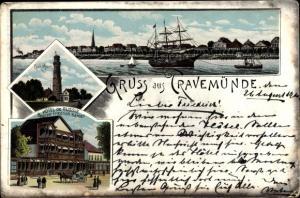 Litho Travemünde Lübeck, Panorama, Leuchtturm, Hotel de Russie