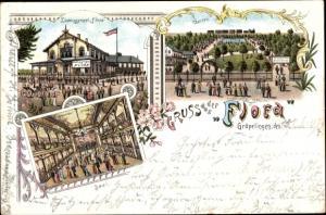 Litho Gröpelingen Hansestadt Bremen, Etablissement Flora, Garten, Saal