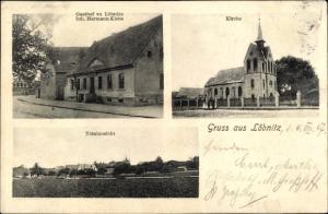 Ak Löbnitz Delitzsch in Nordsachsen, Gasthof, Kirche, Totalansicht