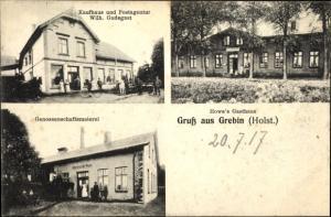 Litho Grebin in Schleswig-Holstein, Kaufhaus und Post, Genossenschaftsmeierei, Howes Gasthaus