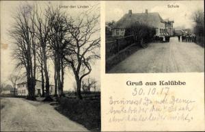 Ak Kalübbe in Schleswig Holstein, Schule, Unter den Linden