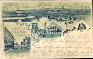 Litho Geisenhausen Bayern, Totalansicht, Marktplatz, Kirchgasse, Wappen