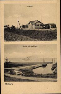 Ak Nordseebad Wremen Wurster Nordseeküste, Bahnhof, Hafen mit Leuchtturm