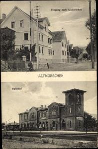 Ak Altmorschen Morschen Hessen, Ortseingang, Bahnhof