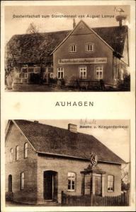 Ak Auhagen in Niedersachsen, Gastwirtschaft zum Storchennest, Schule und Kriegerdenkmal