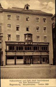 Ak Regensburg an der Donau Oberpfalz, Hofkonditorei und Cafe Adolf Schürnbrand, Neupfarrplatz