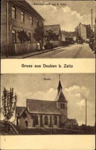 Ak Deuben Teuchern im Burgenlandkreis, Friseurgeschäft von R. Rabe, Kirche