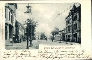 Passepartout Ak Hamburg Mitte Horn, Straßenpartie, Straßenbahnen, Gastwirtschaft