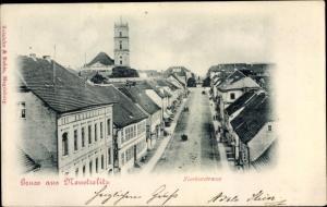 Ak Neustrelitz am Zierker See, Zierker Straße, Vogelschau, Turm der Stadtkirche