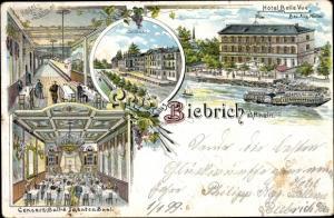 Litho Biebrich am Rhein Wiesbaden, Hotel Bellevue, Kegelbahn, Konzertsaal, Schloss, Salondampfer