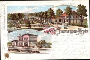 Litho Arpke Lehrte in Niedersachsen, Bahnhof Immensen Arpke, Gasthaus C. Buchholz, Kaffeegarten