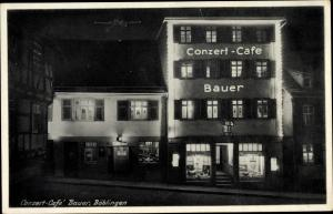 Ak Böblingen in Baden Württemberg, Konzert Cafe Bauer, Marktstraße 45, Nachtbeleuchtung