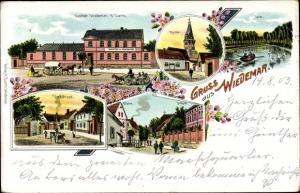 Litho Wiedemar in Nordsachsen, Gasthof von H. Barth, Kirche, Dorfstraße, Pfarre, Schule