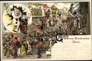 Litho Zittau in Sachsen, Schützenfest, Festplatz, Attraktionen, Harlekin, Schiffsschaukel