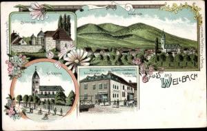 Litho Weilbach Flörsheim, Metzgerei Anton Caprano, Bäckerei Franz Lang, Schlossgut, Kirche