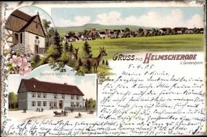 Litho Helmscherode Bad Gandersheim in Niedersachsen, Gasthof W. Volkerding, Panorama
