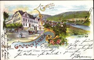 Litho Bodenwerder an der Weser, Hotel zum Goldenen Anker, Inh. C. Schoppe