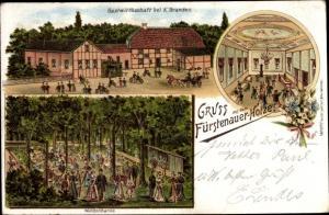 Litho Fürstenau Vechelde in Niedersachsen, Fürstenauer Holz, Gastwirtschaft K. Brandes, Waldschänke