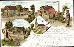 Litho Bortfeld Wendeburg in Niedersachsen, Schenkwirtschaft von Franke, Molkerei, Bauernhaus, Kirche