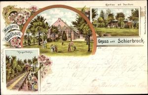 Litho Schierbrock Schierbrok Ganderkesee in Oldenburg, Menkens Gasthaus, Kegelbahn, Garten