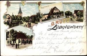 Litho Lüdingworth Cuxhaven, Westerstraße, Norddeutscher Hof v. W. Otto, Gemeindehaus