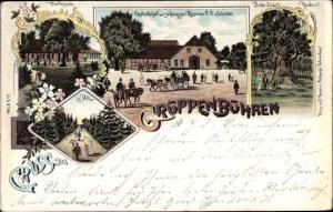 Litho Grüppenbühren Ganderkesee in Niedersachsen, Gastwirtschaft zum schwarzen Ross, C. H. Schäfer