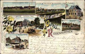 Litho Rodenkirchen in Oldenburg Stadland, Schmedes Hotel, Postamt, Bahnhof, Neuhaus Gasthof, Hallen