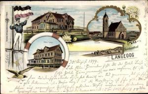 Litho Nordseebad Langeoog in Ostfriesland, Meinens Hotel, Hotel Leiss, Kirche, Strand