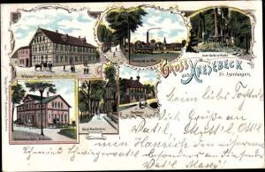 Litho Knesebeck Wittingen in Niedersachsen, Wöhlckes Gasthaus, Genossenschaftsmolkerei, Försterei