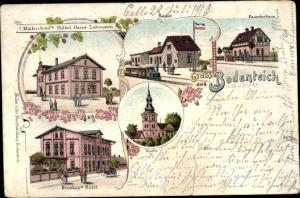 Litho Bad Bodenteich in der Lüneburger Heide, Bahnhofshotel v. Heinr. Lahmann, Kruskop's Hotel