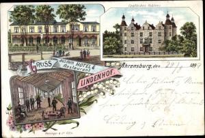 Litho Ahrensburg bei Hamburg, Hotel Restaurant Lindenhof, Kegelbahn, Gräfliches Schloss