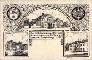 Künstler Ak Viersen in Nordrhein Westfalen, Kath. Frauenbund, Stadthalle, Krankenhaus, St. Remigius
