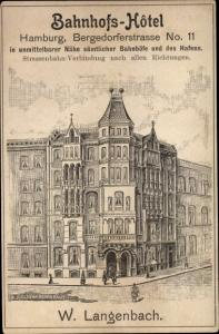 Künstler Ak Hamburg, Bahnhofshotel, Bergedorfer Straße 11, Inh. W. Langenbach