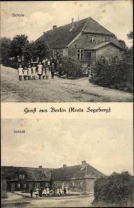 Ak Berlin Seedorf im Kreis Segeberg, Schule, Schloss