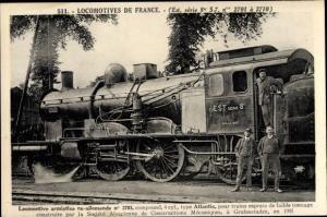 Ak Französische Eisenbahn, Dampflok, Locomotive armistice ax allemande, type Atlantic, Tender 2073
