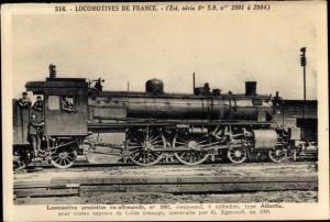 Ak Französische Eisenbahn, Dampflok, Locomotive armistice ax allemande, type Atlantic, Tender 2902