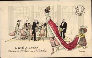 Künstler Ak L'Été à Évian, Saison du 1er Mai au 15 Octobre, Evian Cachat, Reklame