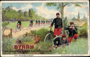 Litho Byrrh, Vin Tonique, En Manoeuvres, Bataillon des Cyclistes, Reklame