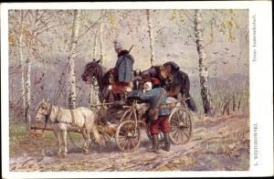 Künstler Ak Wintorowski, L., Treue Kameradschaft, KuK Soldaten, Verwundeter
