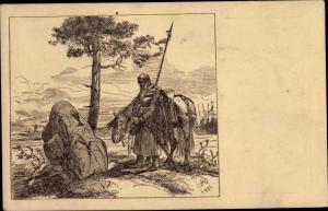Künstler Ak Ales, M., Nad Hrobem Boziho Bojovnika, Mann, Pferd, Denkmal