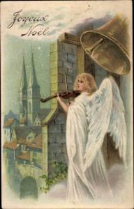 Litho Glückwunsch Weihnachten, Engel spielt Geige, Glocke
