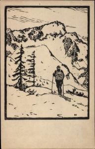 Künstler Ak Weber, E. A., Bayrisches Hochland, Skifahrer