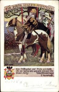 Wappen Künstler Ak Wilke, Karl Alexander, Ein schön teutsch Reiterlied, Reiter