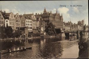 Ak Gdańsk Danzig, An der Mottlau, Ruderboot