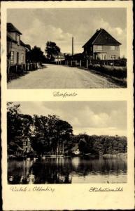 Ak Visbek in Oldenburg, Dorfpartie, Hubertusmühle