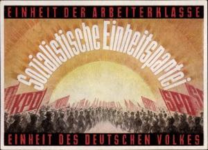 Künstler Ak SED Sozialistische Einheitspartei, Einheit der Arbeiterklasse, KPD, SPD, Parteitag 1946