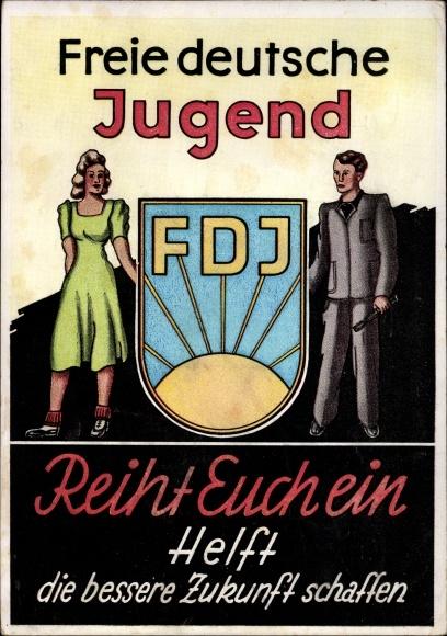 Künstler Ak Freie Deutsche Jugend, FDJ, Reiht euch ein, DDR Propaganda 0