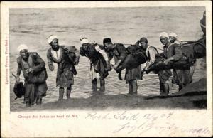 Ak Ägypten, Groupe des Sakas au bord du Nil, Wasserschöpfer