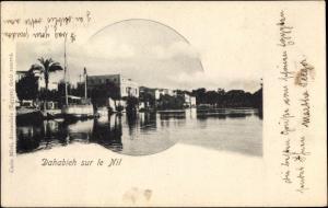 Ak Ägypten, Dahabieh sur le Nil, Boot, Gebäude